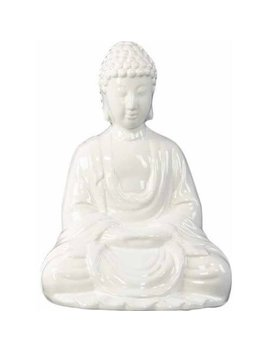 Urban Trends Collection: Ceramic Buddha Figurine, Gloss Finish, White by Urban Trends Collection