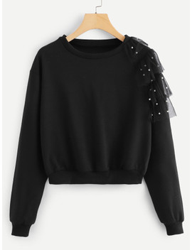 Contrast Mesh And Beaded Sweatshirt by Sheinside