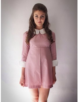1960's Reproduction Mod Dress, Suzy Bishop Style Rose Pink And White Polkadot, Contrast Peter Pan Collar And Cuffs by Violet House Clothing