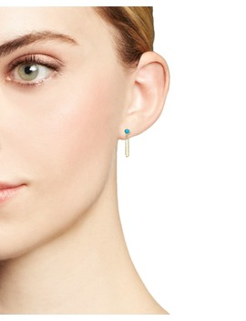 14 K Yellow Gold Draped Chain And Turquoise Stud Earrings by Zoë Chicco