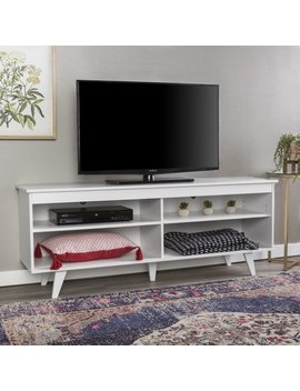 """58"""" Mid Century Modern Wood Storage Media Console Tv Stand   White by Manor Park"""