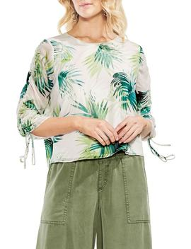 Drawstring Sleeve Sunlit Palm Print Top by Vince Camuto