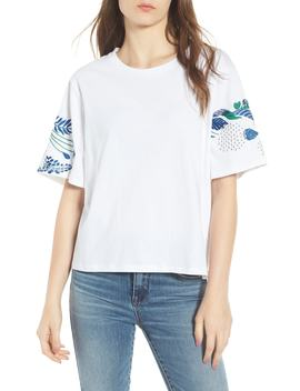 Embroidered Sleeve Boxy Tee by Calibe
