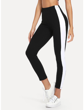 Contrast Panel Skinny Leggings by Romwe