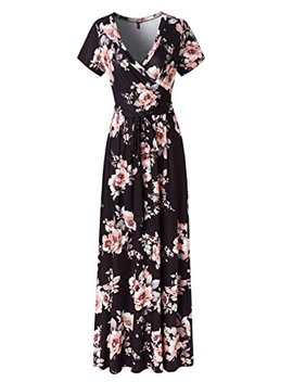 Kranda Womens Vintage Floral Print Short Sleeve Maxi Long Party Dress by Kranda