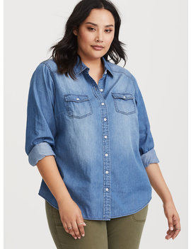 Taylor   Medium Wash Denim Button Up Shirt by Torrid