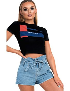Ikrush Womens Belle Slogan Cropped T Shirt by Ikrush