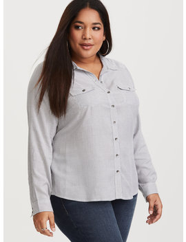 Grey & White Stripe Corset Back Shirt by Torrid