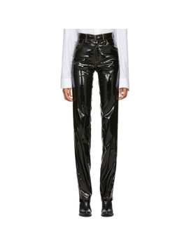 Black Faux Leather Shiny Basic Trousers by Ottolinger