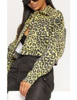Yellow Leopard Scuba Trucker  by Prettylittlething