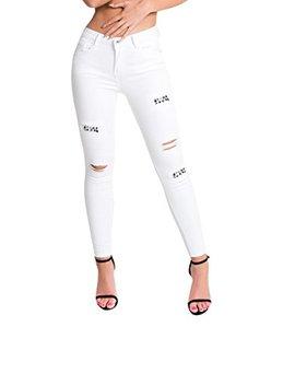 Ikrush Womens Liya Ripped Embellished Skinny Jeans by Ikrush