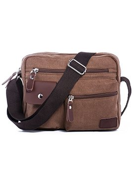 Men's Multifunctional Rough Canvas Messenger Outdoor Sports Walking Boating Bag Over Shoulder Crossbody Side Bag Briefcase Sling Bag Fanny Pack Cellphone Carrying Case With 1 Adjustable Strap  Brown by Ranboo