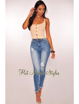 Denim Ripped High Waist Butt Lifting Ankle Skinny Jeans by Hot Miami Style