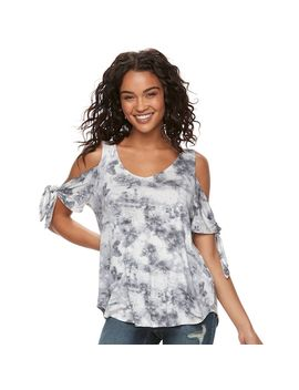 Juniors' Cloud Chaser Knotted Cold Shoulder Top by Kohl's