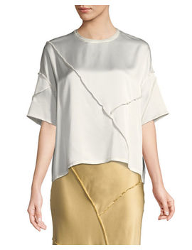 Raw Edge Silk Short Sleeve Tee by Vince