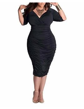 Biubiu Women's Plus Size Sexy 3/4 Sleeve V Neck Ruched Bodycon Midi Dress L 3 Xl by Amazon