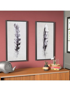 Ivy Bronx 'flight Feathers' 2 Piece Framed Graphic Art Print Set On Canvas by Ivy Bronx