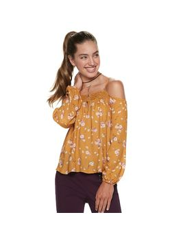 Juniors' Rewind Lace Floral Cold Shoulder Top by Kohl's