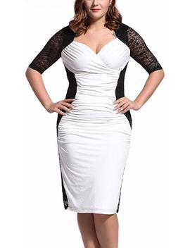 Dilanni Women Party Deep V Neck Lace Dress Plus Size (0 X 5 X) by Amazon