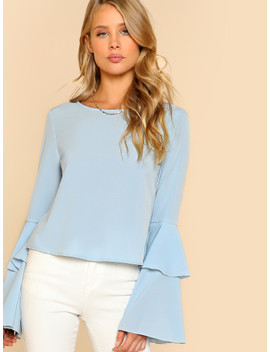 Layered Bell Sleeve Top by Shein