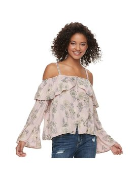 Juniors' American Rag Floral Cold Shoulder Top by Kohl's