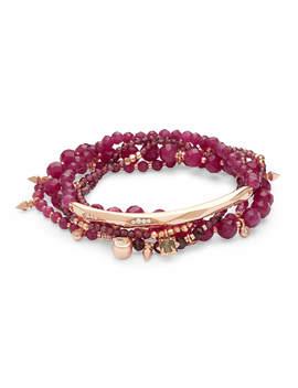Supak Rose Gold Beaded Bracelet Set In Maroon Jade by Kendra Scott