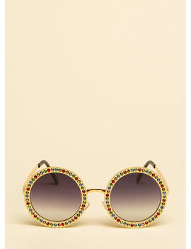 Inner Circle Round Rhinestone Sunglasses by Go Jane