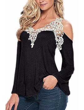 Women Casual Long Sleeve Lace Cotton Tunic T Shirt Top Plus Size by Amazon