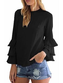 Women Plus Size Casual Long Sleeve Scoop Neck Chiffon Tunic Shirt Blouses Tops Tee by Amazon
