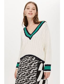Low V Neck Cricket Jumper by Topshop