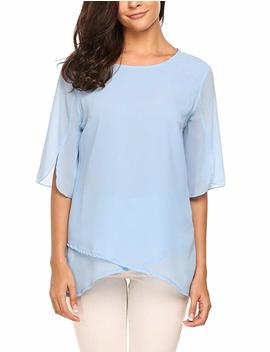 Meaneor Women Casual Chiffon Layered Half Flare Sleeve Sheer Blouse Shirts Top by Amazon