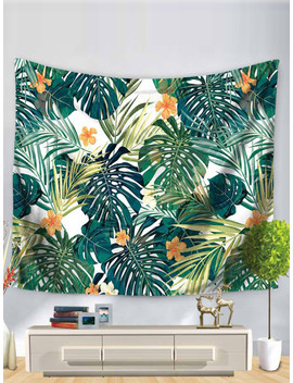Tropical Leaves Print Tapestry by Romwe