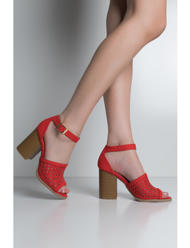 Perforated Chunky Heel Sandals by Akira