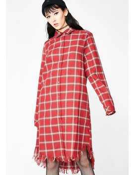 Grunge At Heart Plaid Dress by Lelis