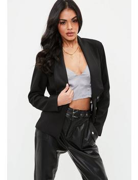 Black Double Layer Lapel Blazer by Missguided