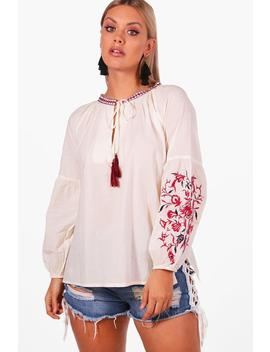 Plus Embroidered Boho Blouse by Boohoo
