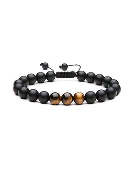 Maocen Handmade 8mm Matte Black Onyx Stone And Tiger Eyes Stone Bead Bracelet For Men Size Adjustable by Maocen