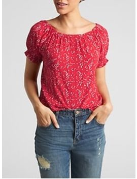 Floral Short Sleeve Top In Rayon by Gap