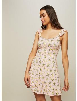 Floral Print Frill Button Skater Dress by Miss Selfridge