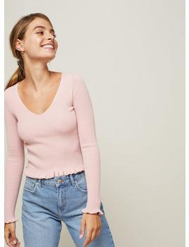 Pale Pink Frill Hem V Neck Top by Miss Selfridge