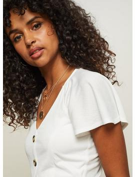 Ivory Button Through V Neck Blouse by Miss Selfridge