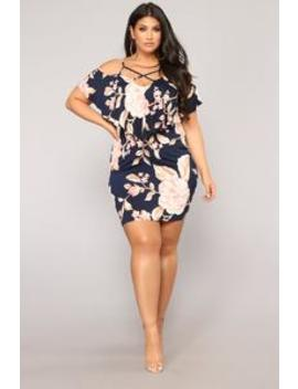 Bet You're Missing Me Cold Shoulder Dress   Navy by Fashion Nova