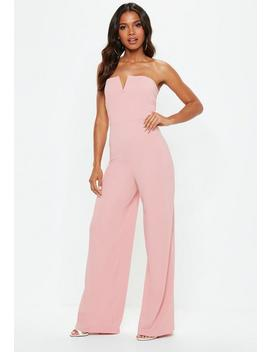 Pink V Bar Bandeau Wide Leg Jumpsuit by Missguided