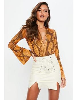 Orange Snake Print Wrap Front Slinky Bodysuit by Missguided