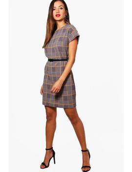 Belted Check Shift Dress by Boohoo