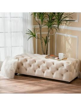 Provence Tufted Velvet Fabric Rectangle Ottoman Bench by Gdf Studio