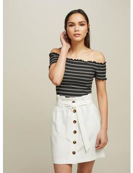 Ivory Button Paper Bag Skirt by Miss Selfridge