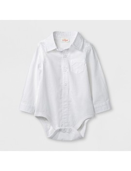 Baby Boys' Long Sleeve Button Down Bodysuit   Cat & Jack™ White by Shop All Cat & Jack™