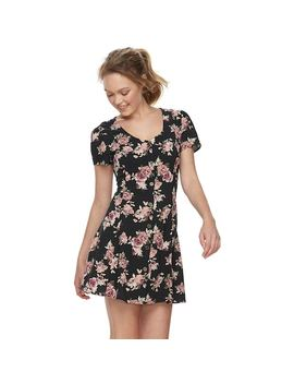 Juniors' Rewind Printed Button Front Swing Dress by Kohl's