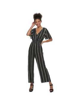 Juniors' Speechless Flutter Sleeve Striped Jumpsuit by Kohl's